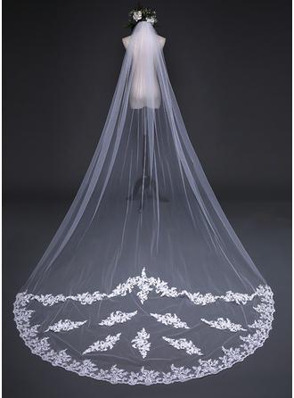 Uno capa Con Aplicación de encaje Velos de novia capilla con Apliques