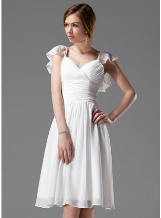 Chiffon Sleeveless A-Line/Princess Bridesmaid Dresses V-neck Beading Cascading Ruffles Knee-Length