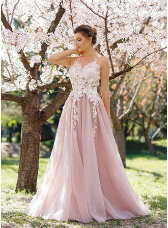 Tulle Sleeveless A-Line/Princess Prom Dresses Appliques Lace Floor-Length