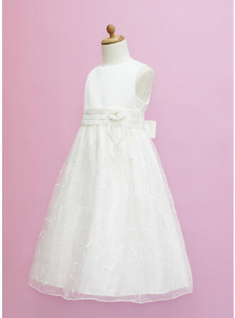 Aライン/プリンセスライン2 マキシレングス フラワーガールのドレス - オーガンザ/サテン 袖なし スクープネック とともに フラワー/弓 (010005334)