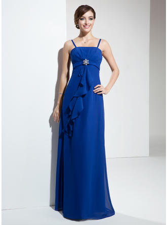 Chiffon Sleeveless Empire Bridesmaid Dresses Crystal Brooch Cascading Ruffles Floor-Length