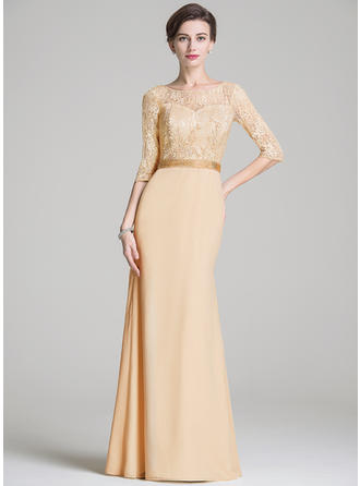 Trumpet/Mermaid Scoop Neck Chiffon Lace 1/2 Sleeves Floor-Length Beading Sequins Mother of the Bride Dresses