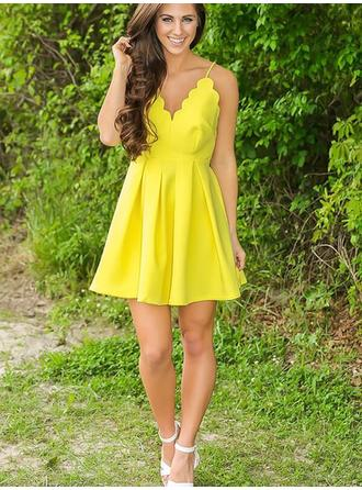 Flattering Satin Homecoming Dresses A-Line/Princess Short/Mini V-neck Sleeveless
