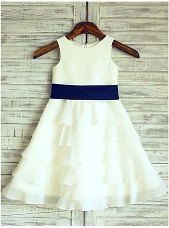 Scoop Neck A-Line/Princess Flower Girl Dresses Chiffon/Satin Ruffles/Flower(s) Sleeveless Tea-length