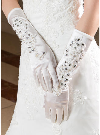 Elastic Satin Ladies' Gloves Elbow Length Bridal Gloves Fingertips Gloves