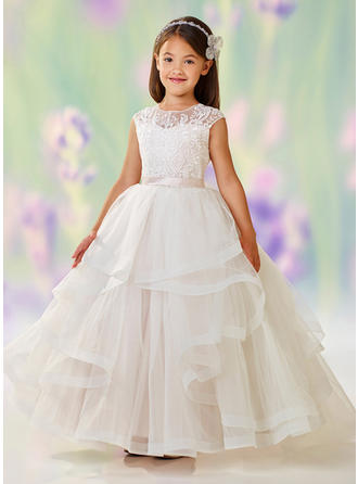 Ball Gown Scoop Neck Floor-length Satin/Tulle/Lace Sleeveless Flower Girl Dress