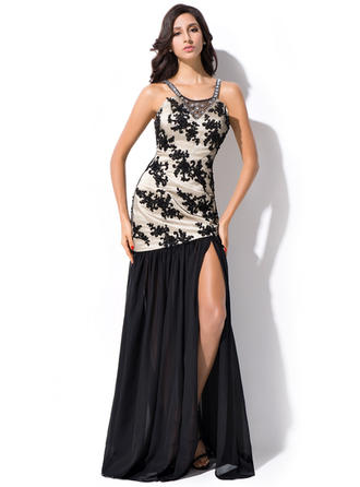 Trumpet/Mermaid Chiffon Prom Dresses Beading Sequins Split Front Scoop Neck Sleeveless Floor-Length