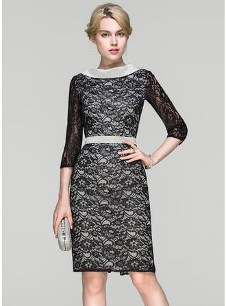 Sheath/Column Lace Cocktail Dresses Scoop Neck 3/4 Sleeves Knee-Length