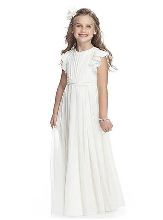 A-Line/Princess Scoop Neck Floor-length With Ruffles/Sash Chiffon Flower Girl Dresses