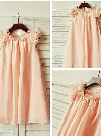 A-Line/Princess Scoop Neck Knee-length With Ruffles Chiffon Flower Girl Dresses