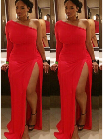 Jersey Long Sleeves Sheath/Column Prom Dresses One-Shoulder Split Front Floor-Length