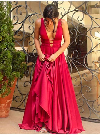 Elegant Charmeuse Evening Dresses A-Line/Princess Sweep Train V-neck Sleeveless