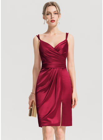 Sheath/Column V-neck Knee-Length Satin Homecoming Dress With Ruffle Split Front