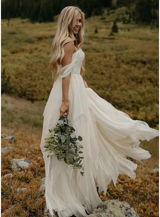 Off-The-Shoulder Floor-Length Wedding Dresses With Ruffle