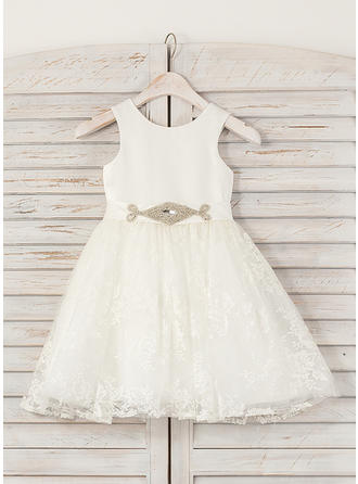 Beautiful A-Line/Princess Satin/Lace Flower Girl Dresses Knee-length Scoop Neck Sleeveless