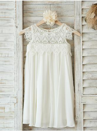 A-Line/Princess Scoop Neck Knee-length Chiffon/Lace Sleeveless Flower Girl Dress (010146839)
