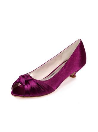 Frauen Peep-Toe Sandalen Kätzchen Absatz Satin Brautschuhe