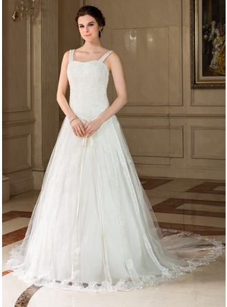 A-Line/Princess Chapel Train Wedding Dress With Lace Beading Sequins Bow(s)