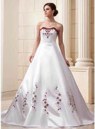 Balklänning Älskling Domkyrkan Tåg Satäng Bröllopsklänning med Broderad Beading Paljetter