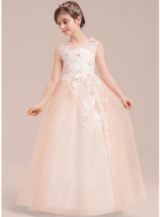 Ball Gown Scoop Neck Floor-length With Beading/Flower(s) Tulle/Lace Flower Girl Dress