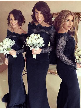 Stretch Crepe Long Sleeves Sheath/Column Bridesmaid Dresses Off-the-Shoulder Sweep Train