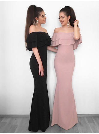 Princess Chiffon Evening Dresses Sheath/Column Floor-Length Off-the-Shoulder Sleeveless