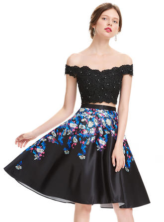 A-Line/Princess Off-the-Shoulder Satin Sleeveless Knee-Length Beading Sequins Homecoming Dresses