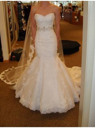 Trumpet/Mermaid Sweetheart Court Train Wedding Dress With Sash Beading Bow(s)