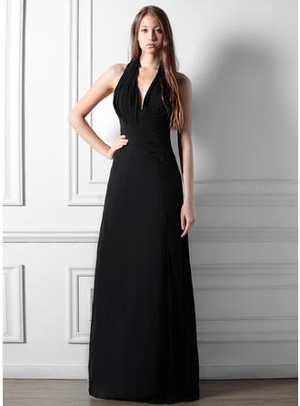 A-Line/Princess Chiffon Bridesmaid Dresses Ruffle Split Front Halter Sleeveless Floor-Length