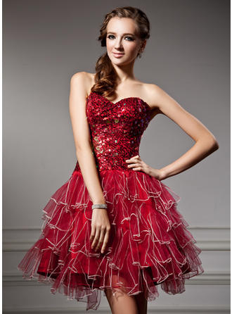 A-Line/Princess Sweetheart Short/Mini Tulle Homecoming Dresses With Sequins Cascading Ruffles
