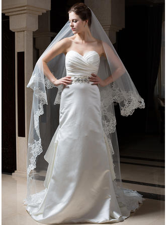 Cathedral Bridal Veils Tulle/Velvet/Sequined One-tier Classic/Cascade With Lace Applique Edge Wedding Veils