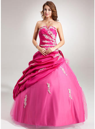 Ball-Gown Scalloped Neck Floor-Length Taffeta Tulle Prom Dress With Ruffle Beading Appliques Lace Flower(s) Sequins