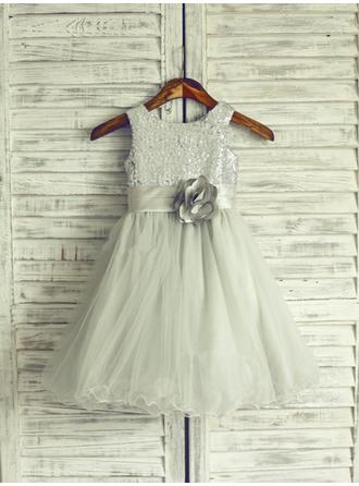 Scoop Neck Flower Girl Dresses Tulle Flower(s) Sleeveless Floor-length