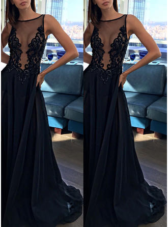 Sleeveless Scoop Neck Tulle Chic Prom Dresses