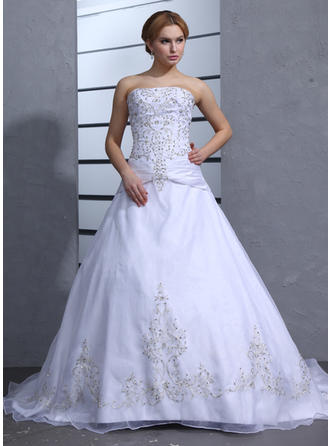 Ball-Gown Chapel Train Wedding Dress With Beading