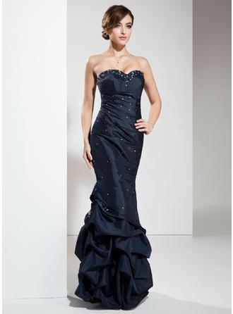 Empire Sweetheart Floor-Length Taffeta Prom Dress With Ruffle Beading Sequins