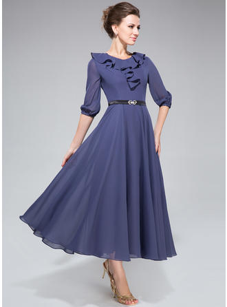 A-Linie/Princess-Linie U-Ausschnitt Chiffon 1/2 Ärmel Wadenlang Schleifenbänder/Stoffgürtel Gestufte Rüschen Kleider für die Brautmutter (008211509)