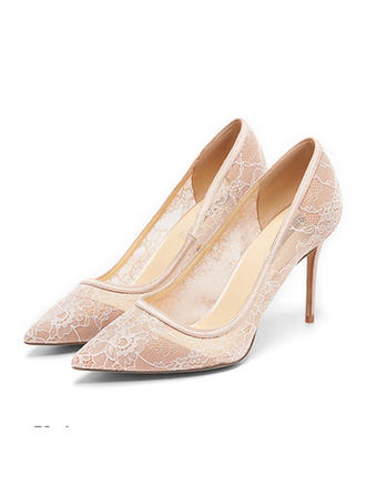 Women's Closed Toe Pumps Stiletto Heel Lace With Split Joint Wedding Shoes