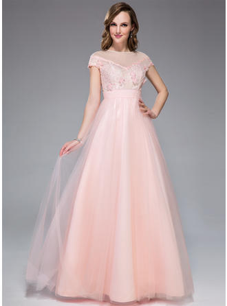 A-Line/Princess Tulle Lace Prom Dresses Beading Flower(s) Sequins Scoop Neck Short Sleeves Floor-Length