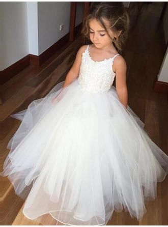 Ball Gown/Sheath/Column Scoop Neck Floor-length With Pleated Tulle/Lace Flower Girl Dress (010145213)