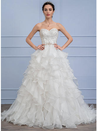 Beading Cascading Ruffles Ball-Gown - Organza Lace Wedding Dresses