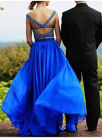 A-Line/Princess Sweetheart Floor-Length Evening Dress With Beading