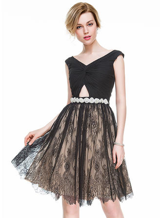 A-Line/Princess V-neck Knee-Length Chiffon Lace Cocktail Dress With Ruffle Beading Sequins
