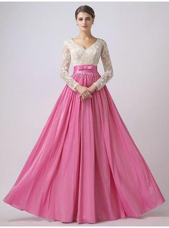 Empire V-neck Floor-Length Evening Dresses With Lace Sash Bow(s)