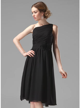 A-Line/Princess Chiffon Bridesmaid Dresses Ruffle Flower(s) One-Shoulder Sleeveless Knee-Length