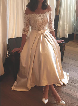 A-Line/Princess Off-The-Shoulder Asymmetrical Sweep Train Wedding Dress With Lace Bow(s)