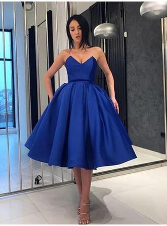 Ruffle Sweetheart Satin Ball-Gown Homecoming Dresses