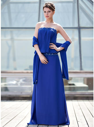 Chiffon Sleeveless Mother of the Bride Dresses Strapless Sheath/Column Lace Beading Pleated Sweep Train