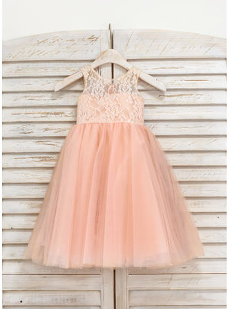 A-Line/Princess Scoop Neck Tea-length Tulle/Lace Sleeveless Flower Girl Dresses