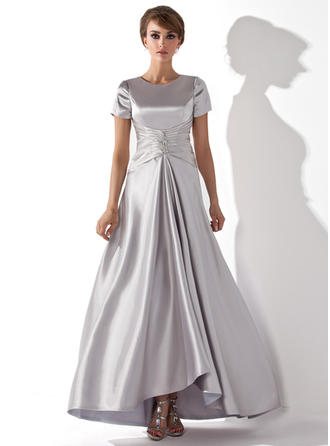 A-Line/Princess Scoop Neck Asymmetrical Mother of the Bride Dresses With Ruffle Beading